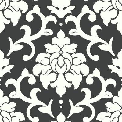 28.18 sq. ft. Black Damask Peel and Stick Wallpaper