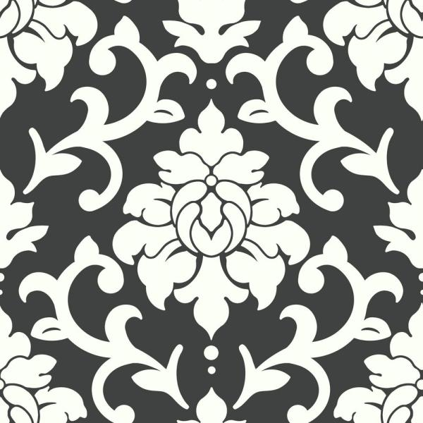 RoomMates 28.18 sq. ft. Black Damask Peel and Stick Wallpaper