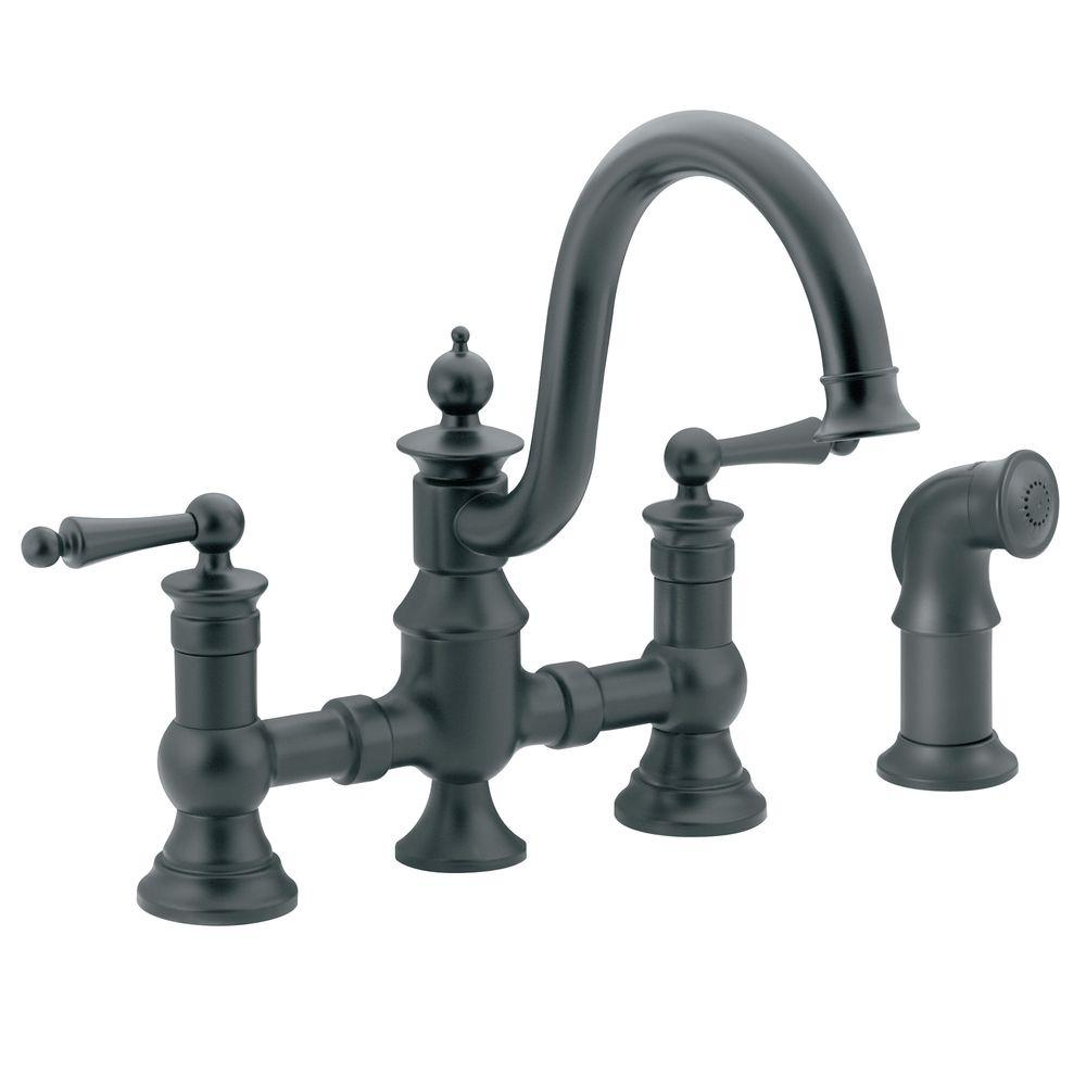 MOEN Waterhill 2-Handle High-Arc Side Sprayer Bridge Kitchen Faucet in Wrought Iron