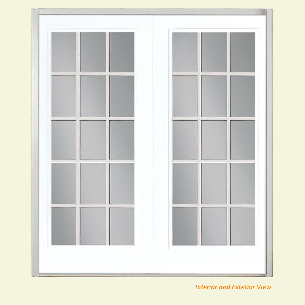 Masonite 72 in. x 80 in. Ultra White Fiberglass Prehung Right-Hand Inswing GBG 15-Lite Clear Glass Patio Door in Vinyl Frame