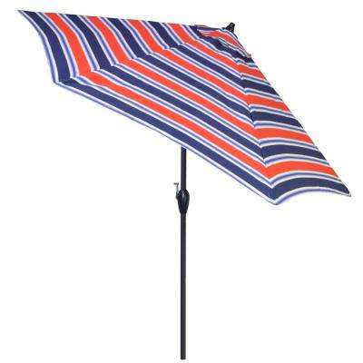 9 ft. Aluminum Patio Umbrella in Poolside Stripe with Tilt