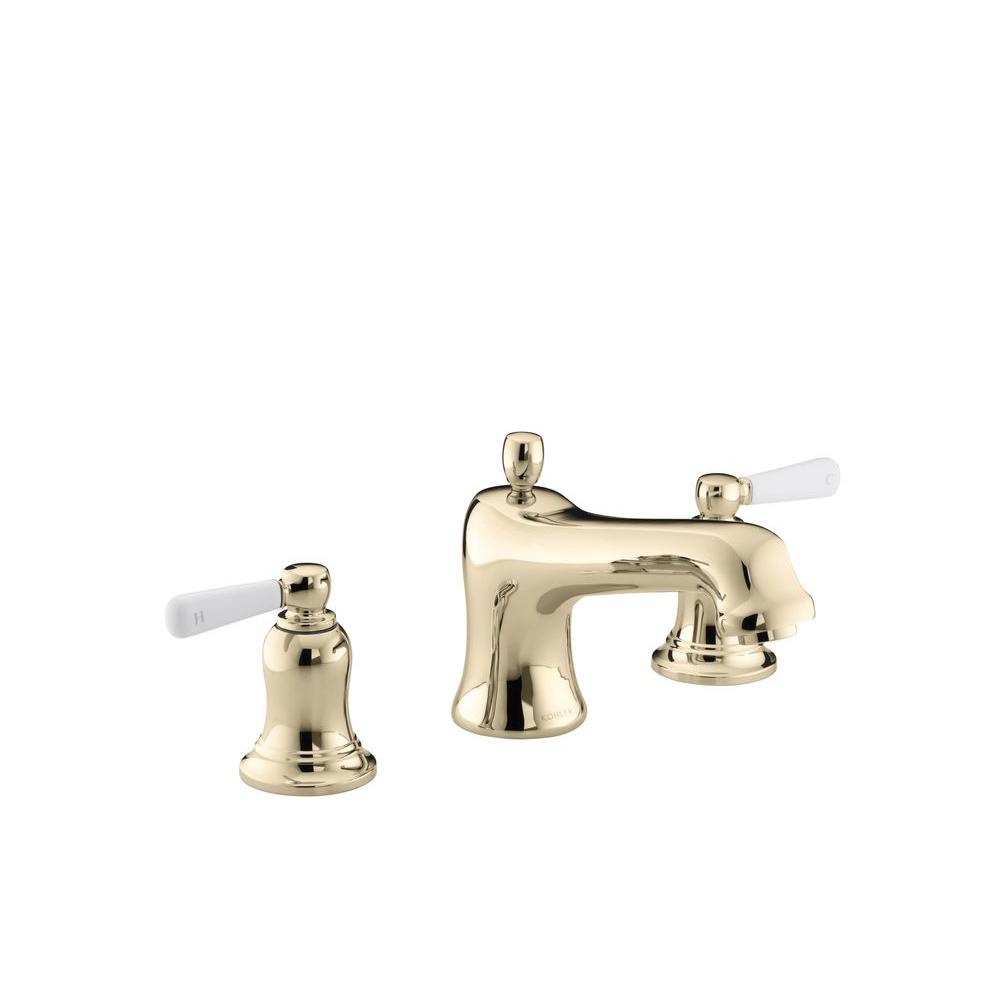 KOHLER Bancroft Deck-Mount Bath Faucet Trim with White Ceramic ...