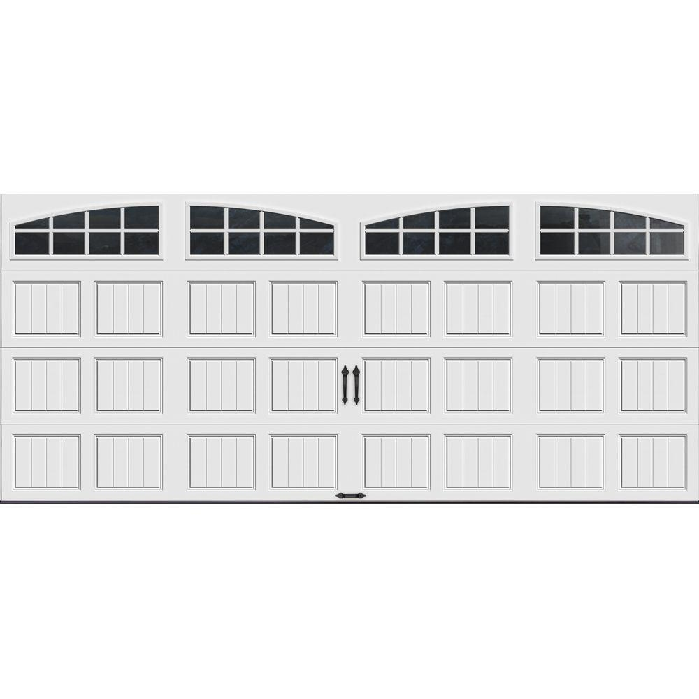 Clopay Gallery Collection 16 Ft X 7 Ft 18 4 R Value Intellicore Insulated White Garage Door With Arch Window Gr2su Sw Grla1 The Home Depot