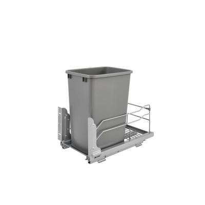 18.9375 in. H x 10.875 in. W x 22.25 in. D Single 35 Qt. Pull-Out Silver Waste Container with Soft-Close Slides