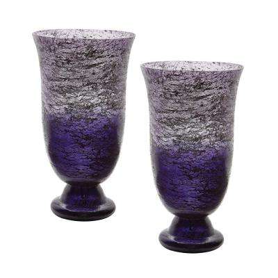 Ombre 14 in. Flared Glass Decorative Vases in Plum (Set of 2)