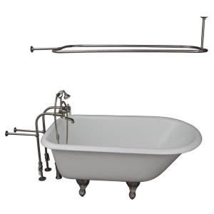 Barclay Products 4.5 ft. Cast Iron Ball and Claw Feet Roll Top Tub in White with Brushed Nickel Accessories by Barclay Products