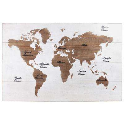"29 in. x 45 in. ""World Map"" Printed Wall Art"