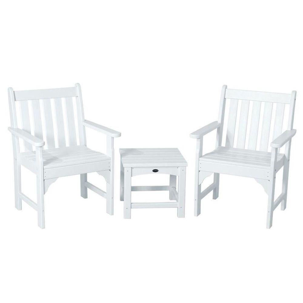 POLYWOOD Vineyard White 3-Piece Patio Garden Chair Set