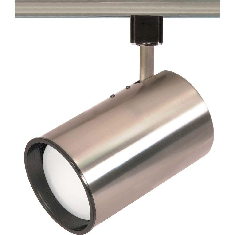 Glomar 1-Light R30 Brushed Nickel Straight Cylinder Track Lighting Head
