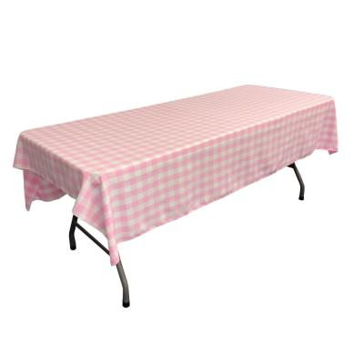 60 in. x 102 in. White and Pink Polyester Gingham Checkered Rectangular Tablecloth
