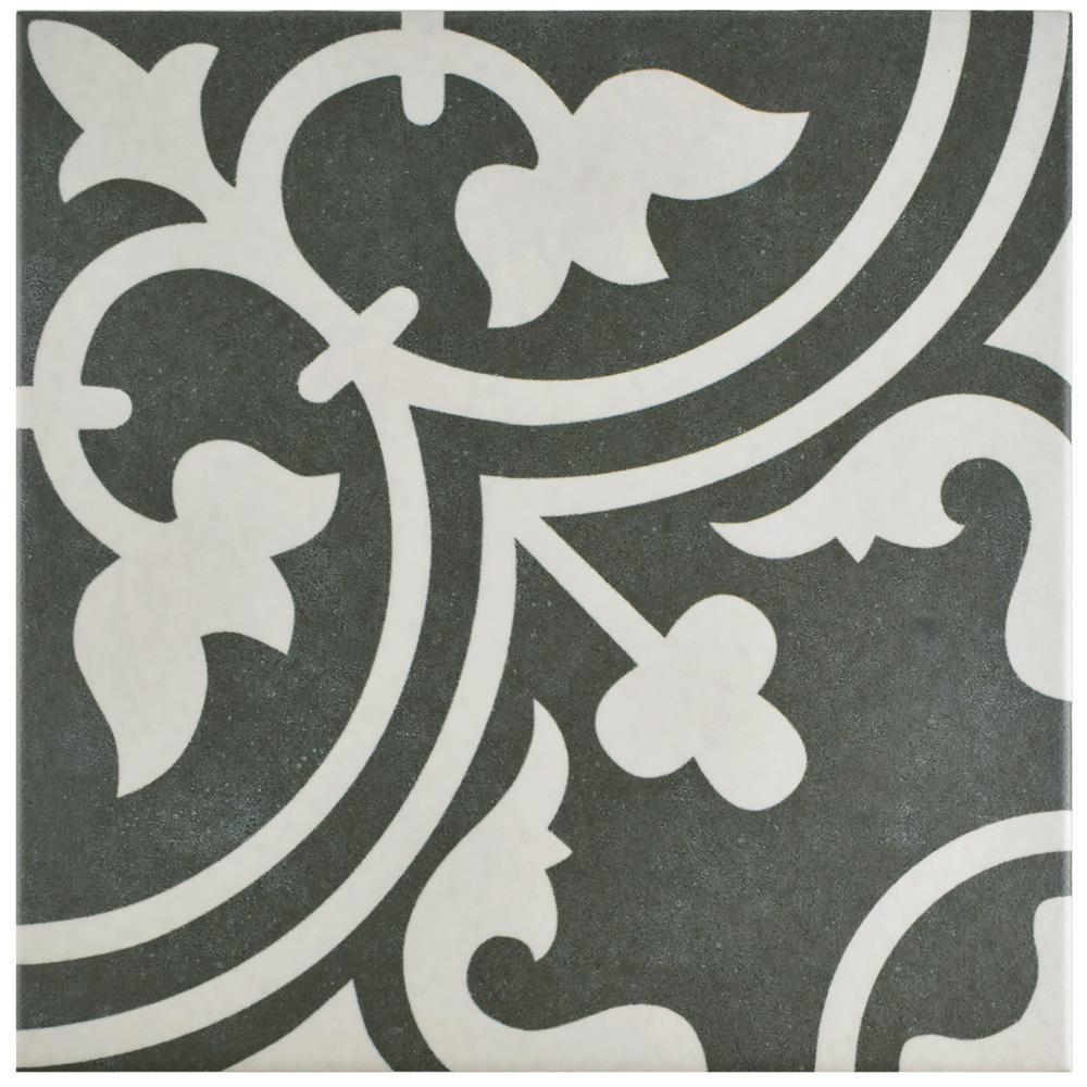 Merola Tile Arte Black Encaustic 9 3 4 In X