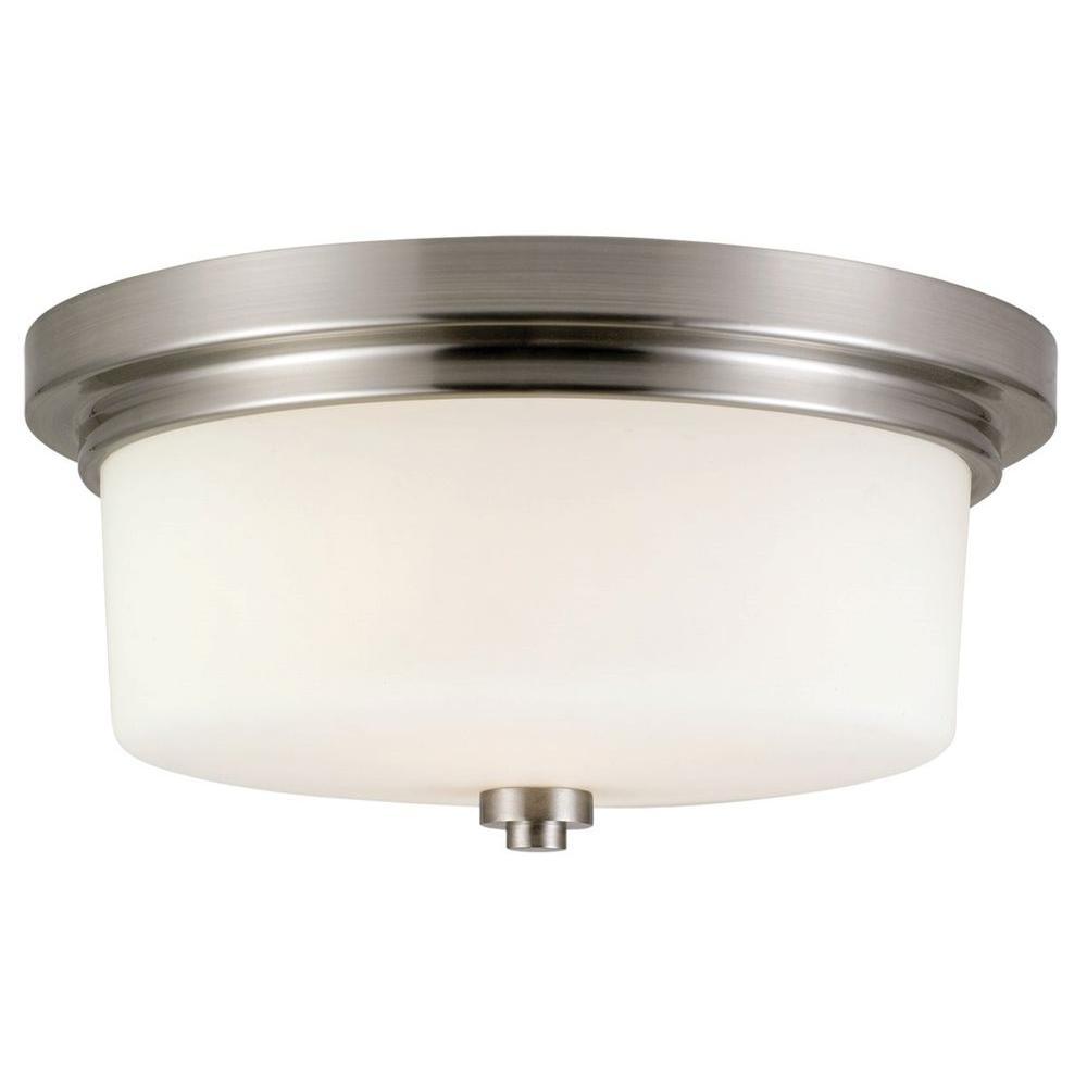 Design House Aubrey 2Light Brushed Nickel Ceiling Mount Light