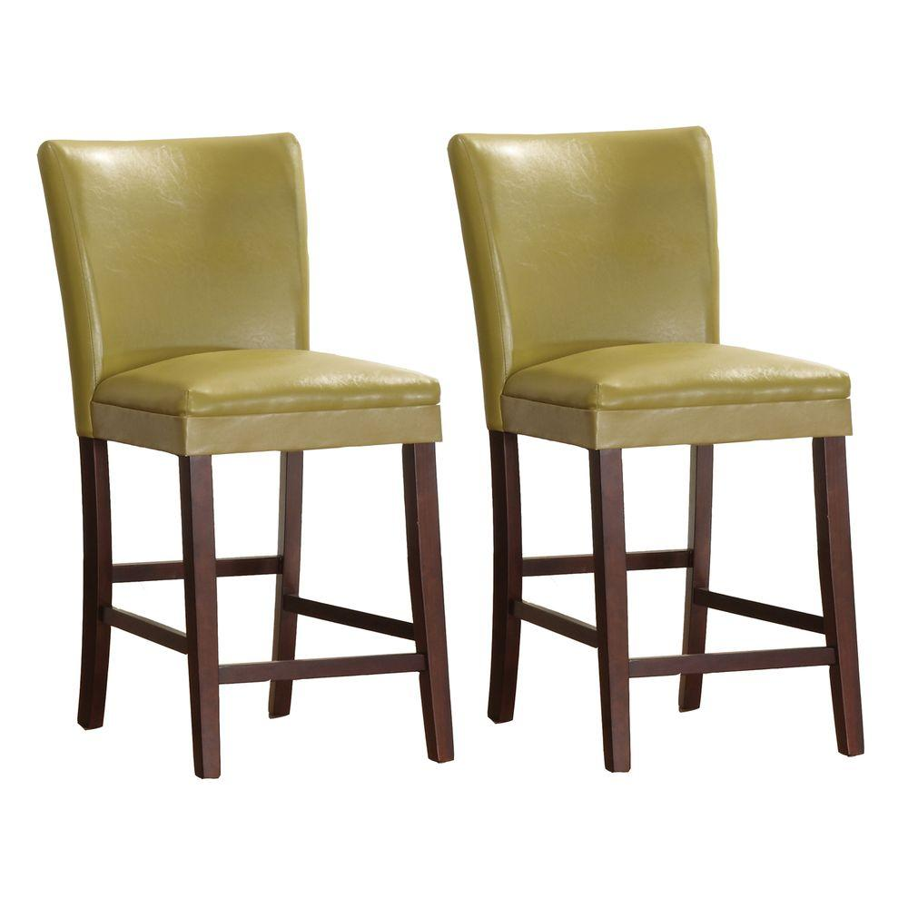 HomeSullivan 24 in. Yellow Counter Chair (Set of 2)-DISCONTINUED