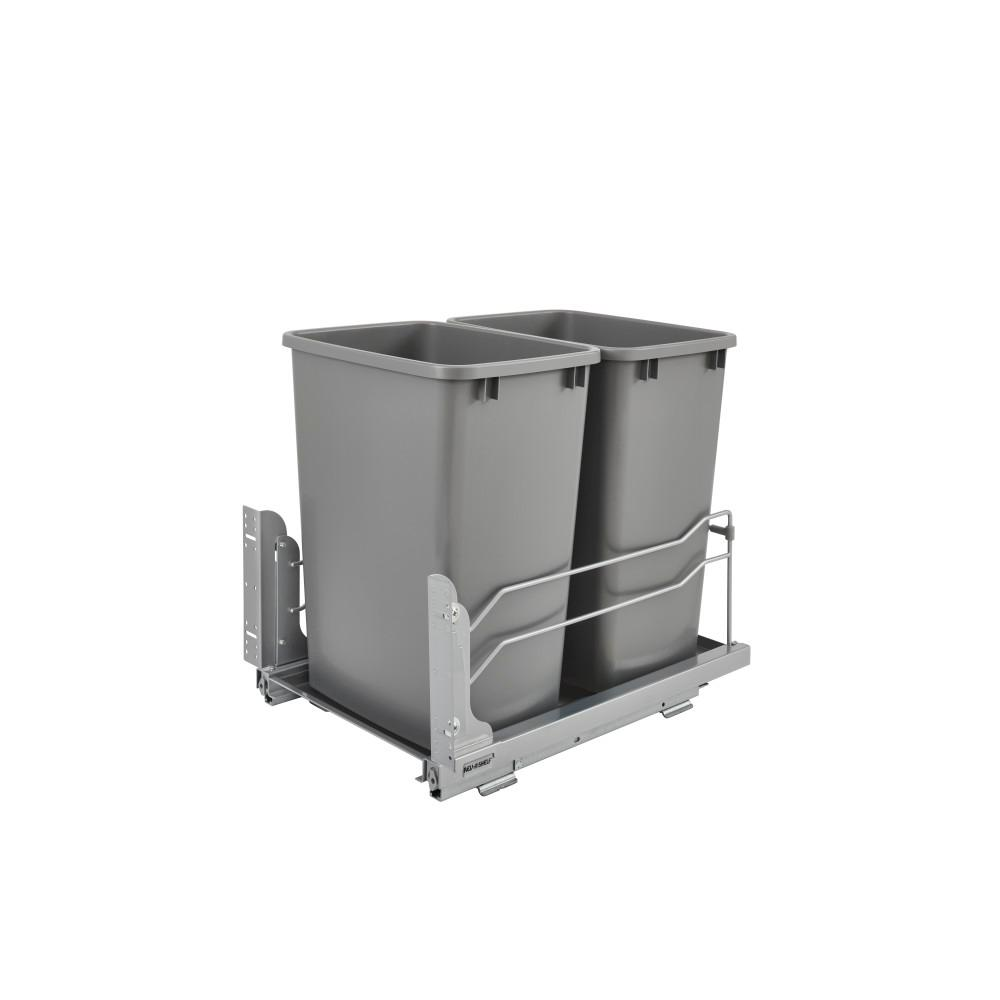 Rev A Shelf Double 35 Qt Pull Out Silver Waste Container With