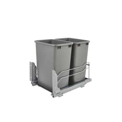 Double 35 Qt. Pull-Out Silver Waste Container with Soft-Close Slides