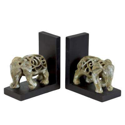 7 in. H Elephant Decorative Figurine in Champagne Finish