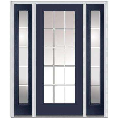 60 in. x 80 in. Grilles Between Glass Right-Hand Full Lite Classic Painted Steel Prehung Front Door with Sidelites