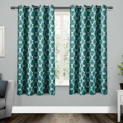 Gates 52 in. W x 63 in. L Woven Blackout Grommet Top Curtain Panel in Teal (2 Panels)