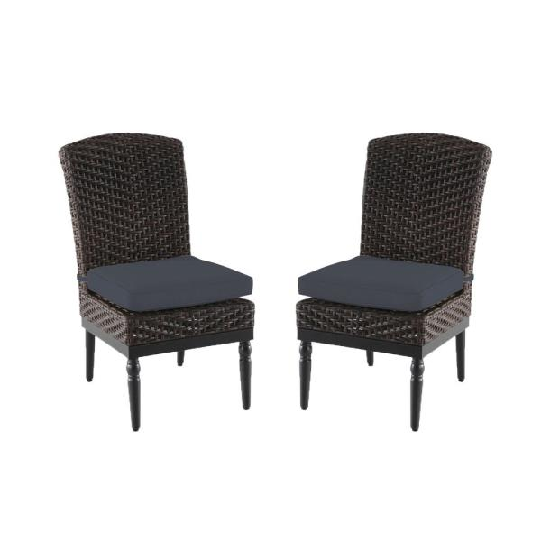 Camden Dark Brown Wicker Outdoor Patio Armless Dining Chair with CushionGuard Steel Blue Cushions (2-Pack)