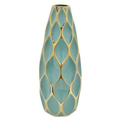 19.5 in. Turquoise and Gold Porcelain Vase
