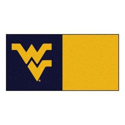 NCAA - West Virginia University Navy Blue and Gold Nylon 18 in. x 18 in. Carpet Tile (20 Tiles/Case)