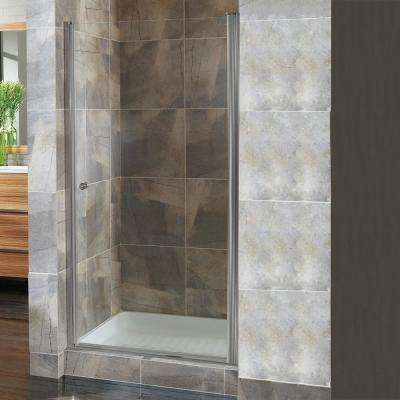 Cove 26.5 in. to 28.5 in. x 72 in. H Semi-Framed Pivot Shower Door in Brushed Nickel with 1/4 in. Clear Glass