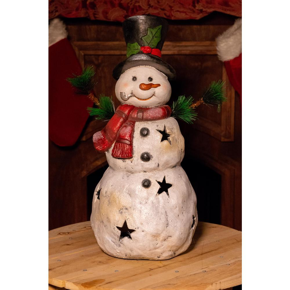 Alpine 22 in. Christmas Snowman Statuary with Black Stars