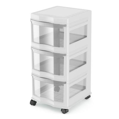 Classic White 27.75 in. x 13.2 in. x 15.5 in. 3-Drawer Storage Container Organizer Plastic Drawers