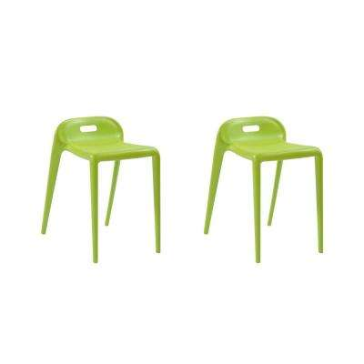 E-Z Stacking Modern Plastic Green Accent Stool Chair (Set of 2)