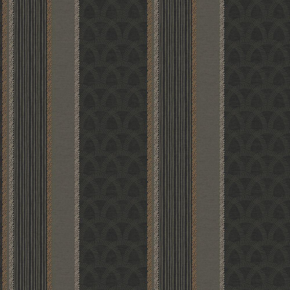 The Wallpaper Company 8 in. x 10 in. Black Multi Pattern Stripe Wallpaper Sample