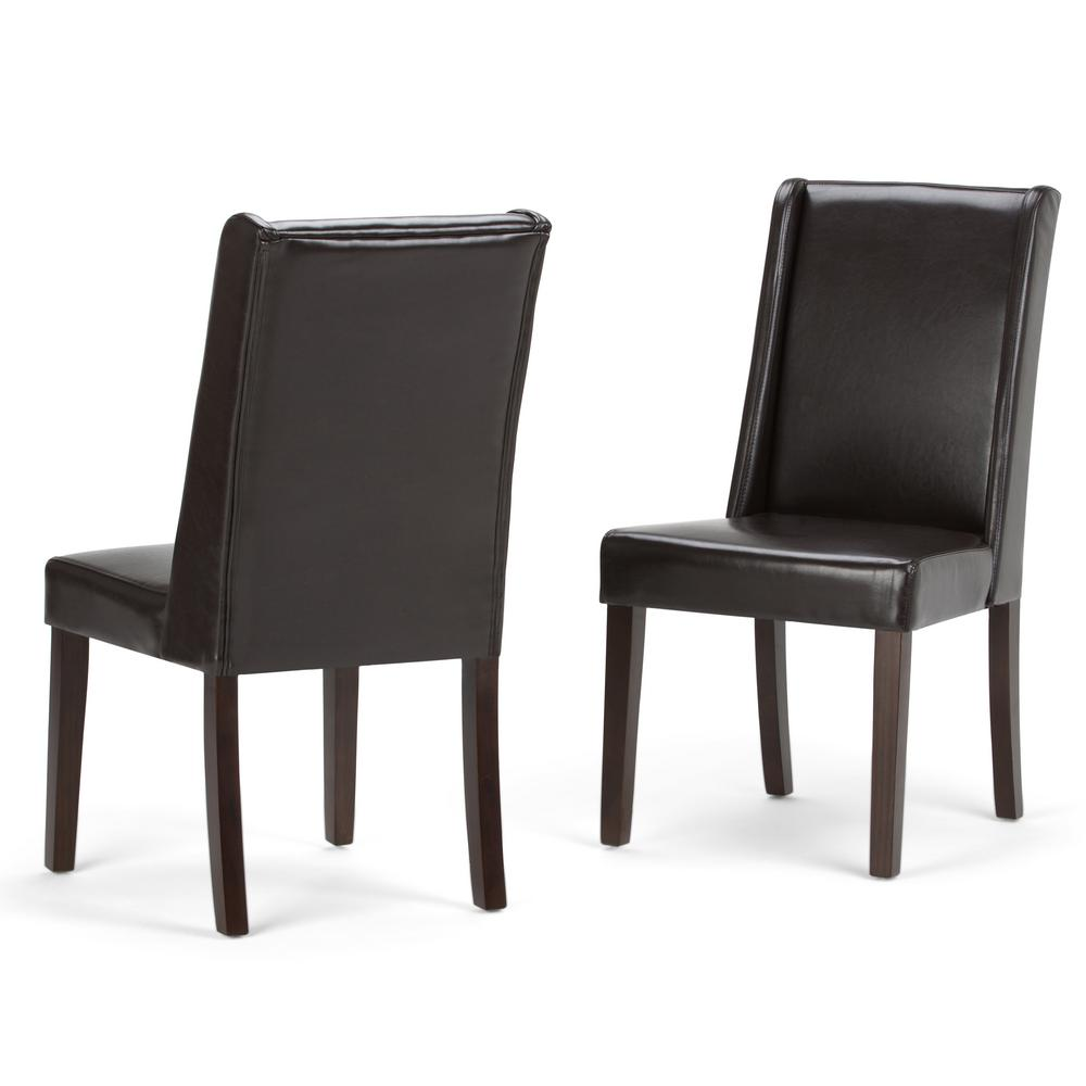 Dining Chairs Set Brown Faux Leather Modern Style Walnut: Simpli Home Sotheby Tanners Brown Faux Leather Dining