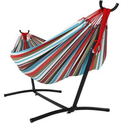 8 ft. Fabric Jumbo 2-Person Brazilian Hammock with Stand in Cool Breeze