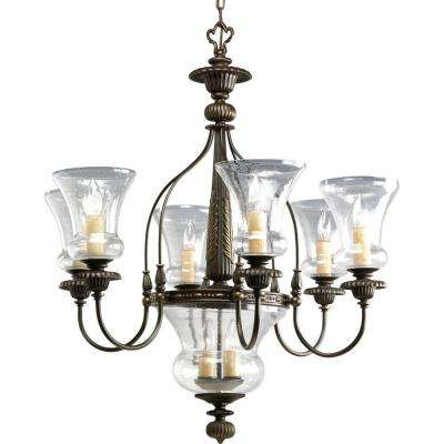 Fiorentino Collection 9-Light Forged Bronze Chandelier with Clear Shades