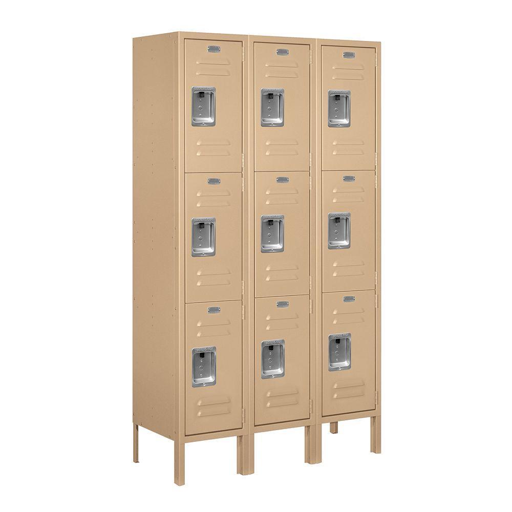63000 Series 36 in. W x 66 in. H x 12 in. D - Triple Tier Metal Locker Assembled in Tan