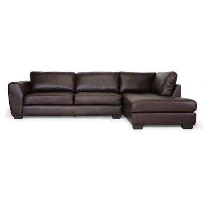 Orland 2-Piece Contemporary Brown Faux Leather Upholstered Right Facing Chase Sectional Sofa