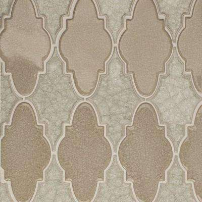 Roman Selection Iced Light Cream Arabesque 12-1/4 in. x 13-3/4 in. x 8 mm Glass Mosaic Tile
