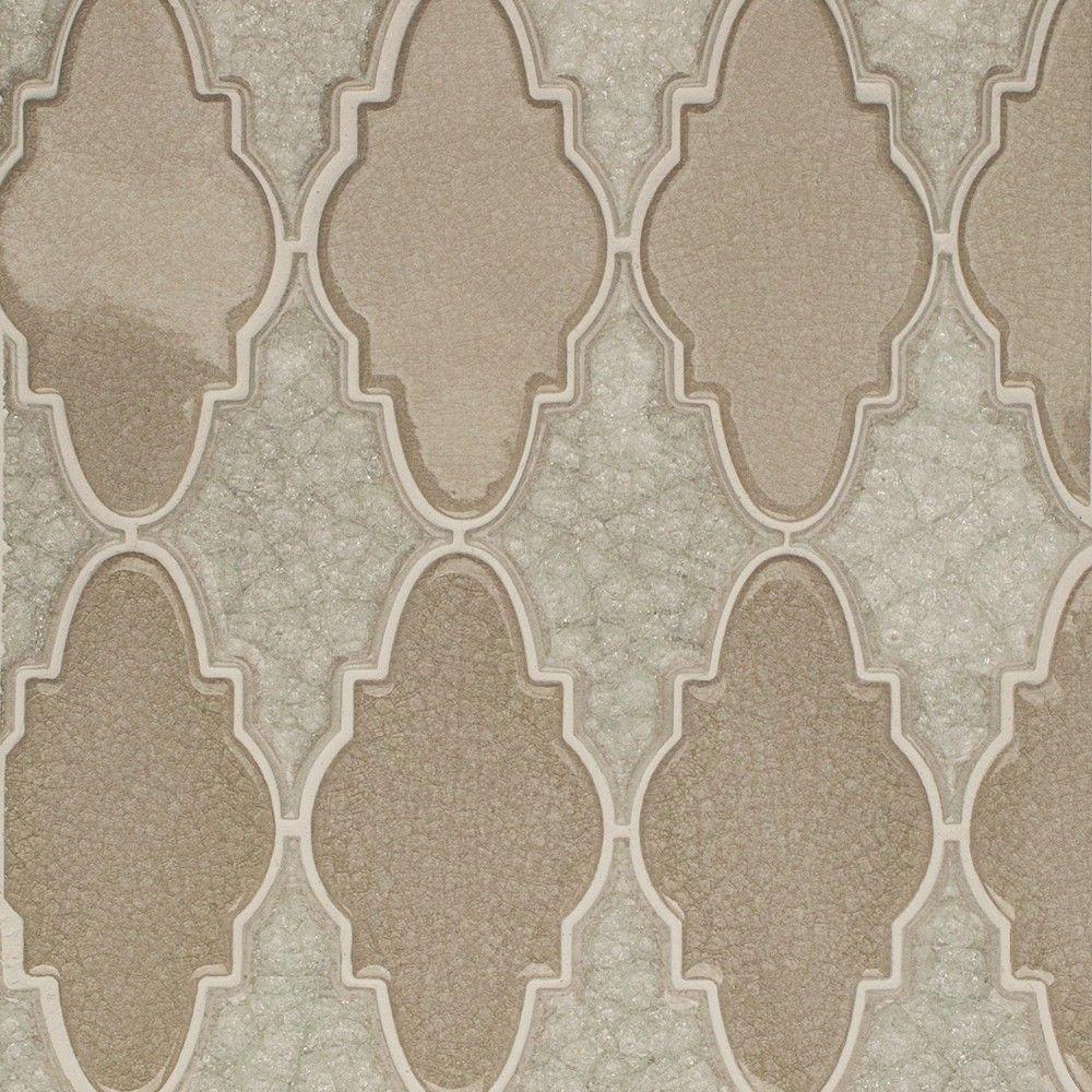 Roman Selection Iced Light Cream Arabesque Glass Mosaic Tile - 3 in. x 6 in. Tile Sample