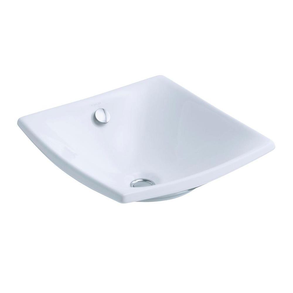 KOHLER Escale Fireclay Vessel Sink in White with Overflow Drain