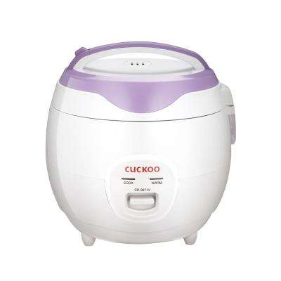 3.2 qt. 6-Cup White/Violet Electric Rice Cooker and Warmer