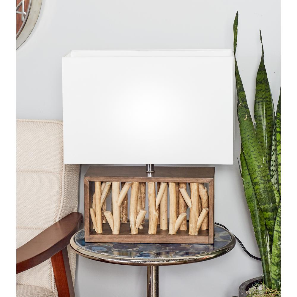 18 in. Brown Box-Framed Driftwood Table Lamp with White Shade