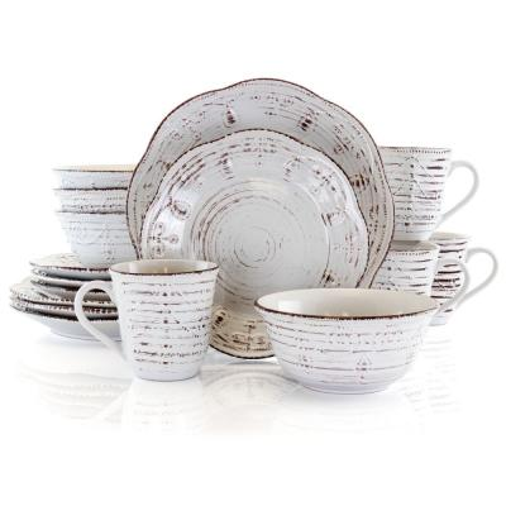 Rustic Birch 16-Piece Casual White Stoneware Dinnerware Set (Service for 4)