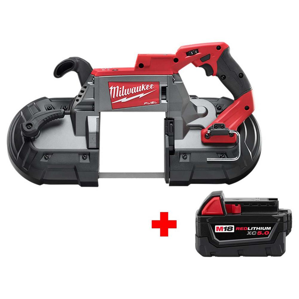 Milwaukee M18 FUEL 18-Volt Lithium-Ion Brushless Cordless Deep Cut Band Saw  with Free M18 5 0Ah Battery