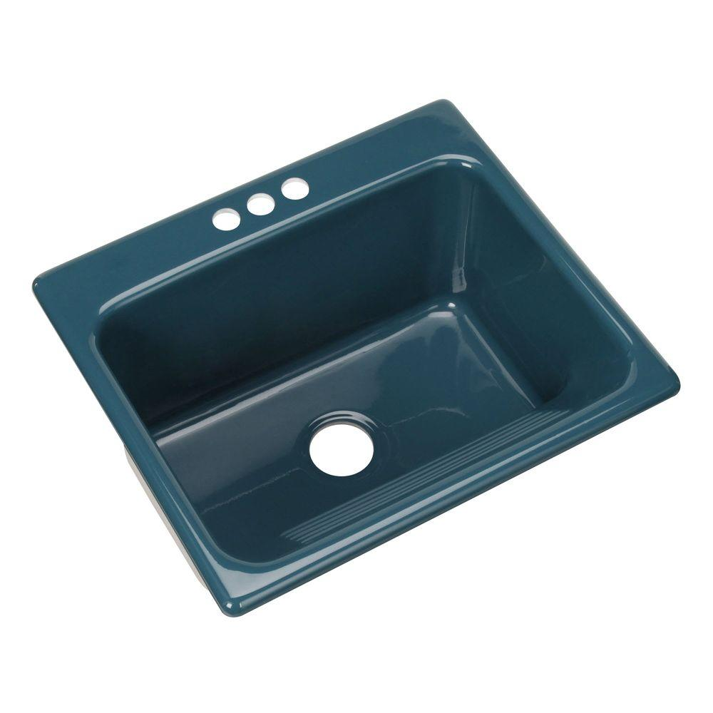 Thermocast Kensington Drop-In Acrylic 25 in. 3-Hole Single Bowl Utility Sink in Teal