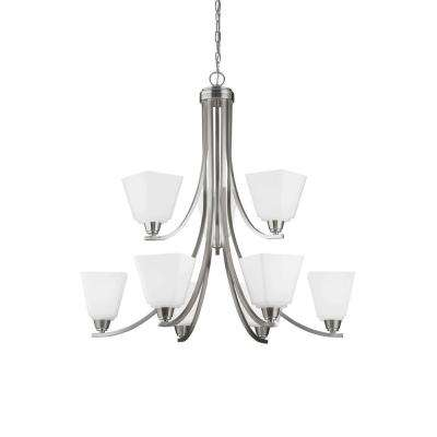 Parkfield 9 light brushed nickel multi tier chandelier
