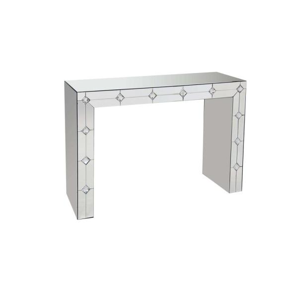 Venetian Worldwide Hessa Silver And Mirrored Console Table Va 90242 The Home Depot