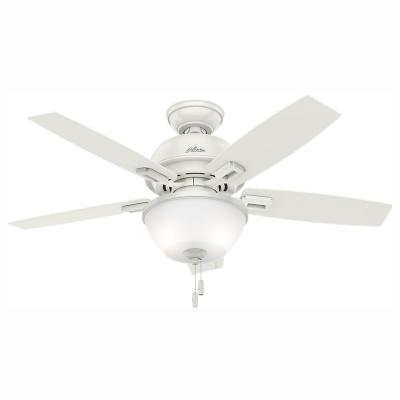 Donegan 44 in. LED Indoor Fresh White Ceiling Fan with Bowl Light Kit