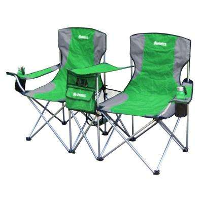 Sit Side By Side Double Folding Padded Camping Chair in Green