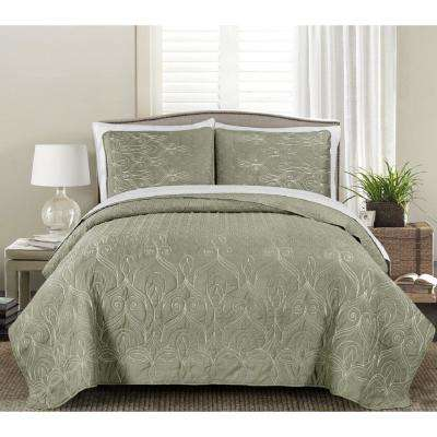 Gallen Dark Taupe 3-Piece Full and Queen Embroidered Quilt Set