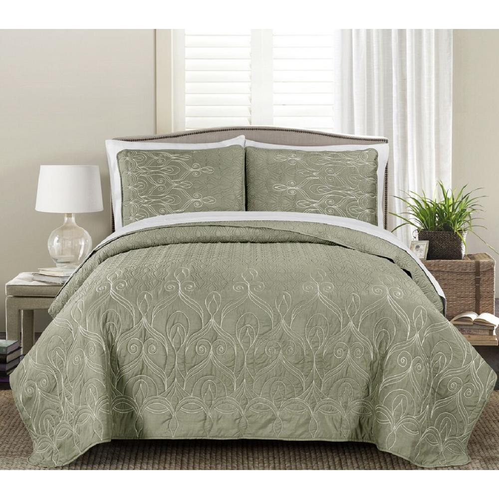 Gallen Dark Taupe 3-Piece King Embroidered Quilt Set