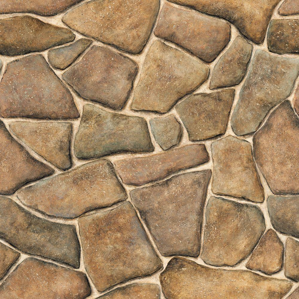 The Wallpaper Company 56 sq. ft. Brown Faux Stone Wallpaper